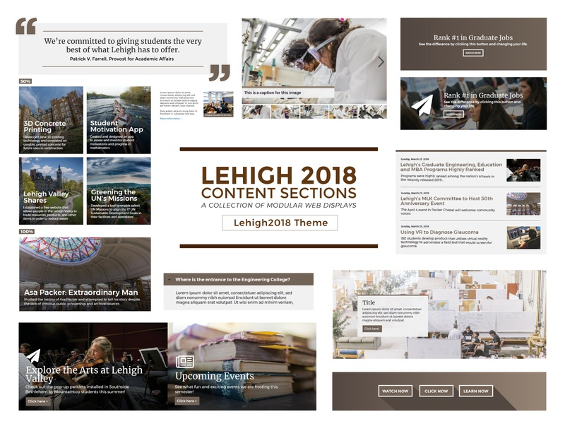 Lehigh 2018 Content Sections theme development drupal brown modular displays content graphic design web