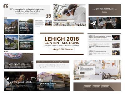 Lehigh 2018 Content Sections theme development drupal brown modular displays content graphic design web