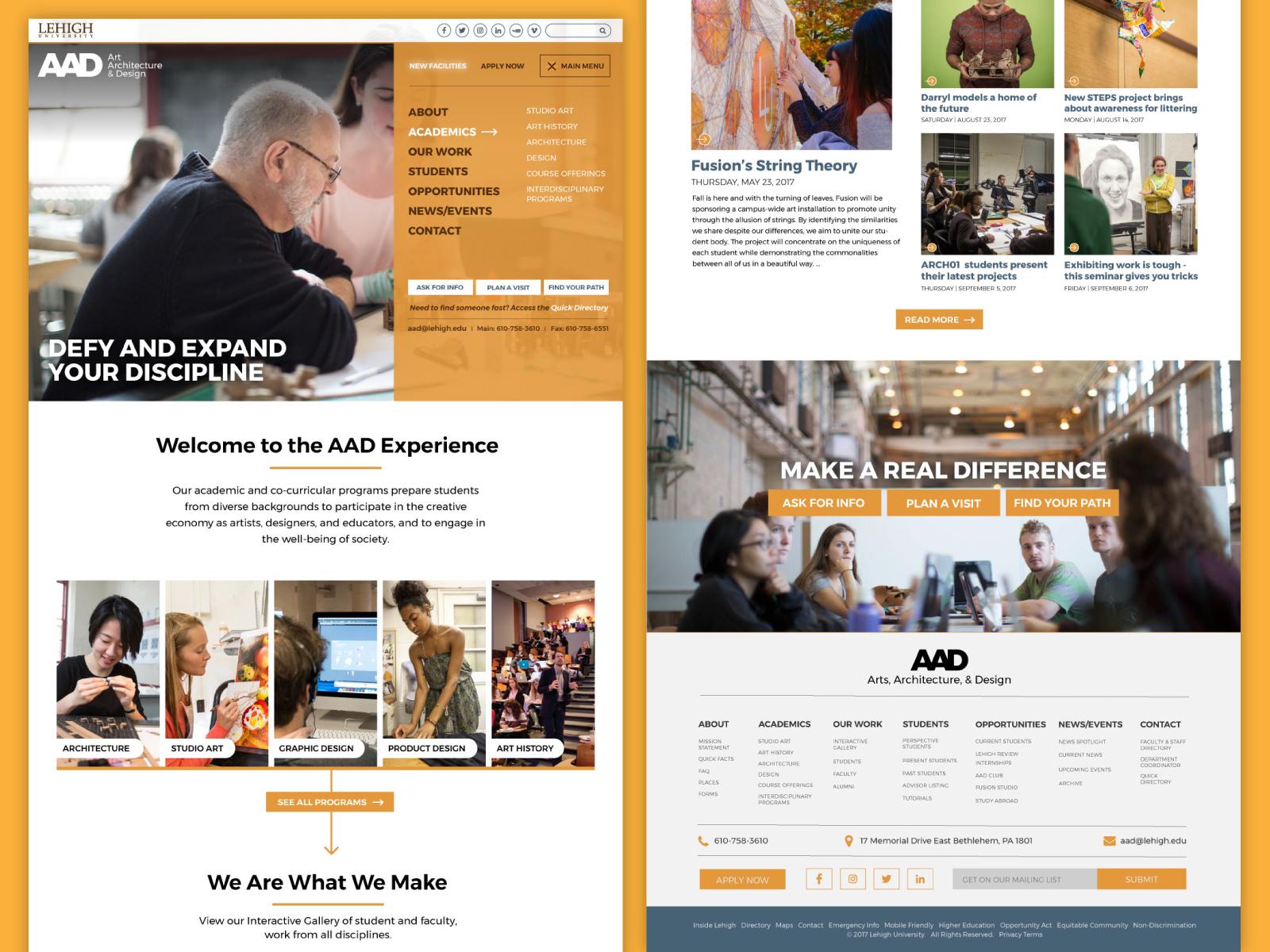 Art, Architecture and Design Website art modern gold color graphic development design web