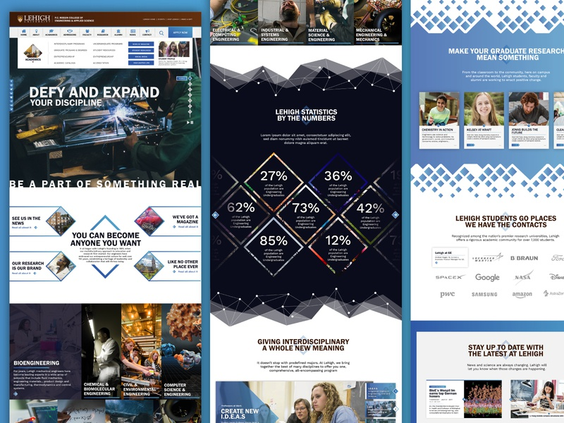 Lehigh Engineering Website gradient design  front-end  back-end vector ux ui typography scheme color graphic design web