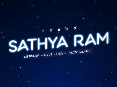 Sathya Ram | Website Hero Animation css night stars glow hero logo vector typography development graphic design