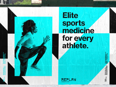 Outdoor add for Replay Urgent Care sports athletes medical logo logo design healthcare branding medicl branding