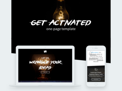 """Get Activated"" One-Page Template agency template one-page template visual design responsive web design ui layout html design"