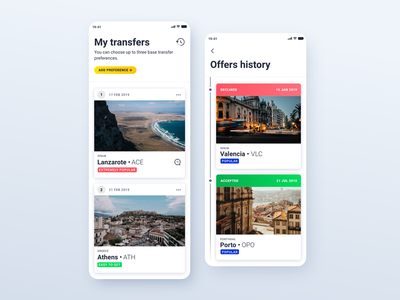 Base Transfer - My Transfers and Offers History history time line list city badge ui ux ryanair mobile design app card