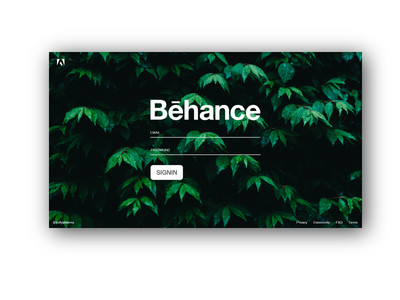 Behance Redesign - Login behance behance redesign interaction design interaction user interface ui dribbble
