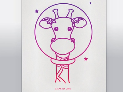 Gg - Galaktisk giraf silkscreen illustration