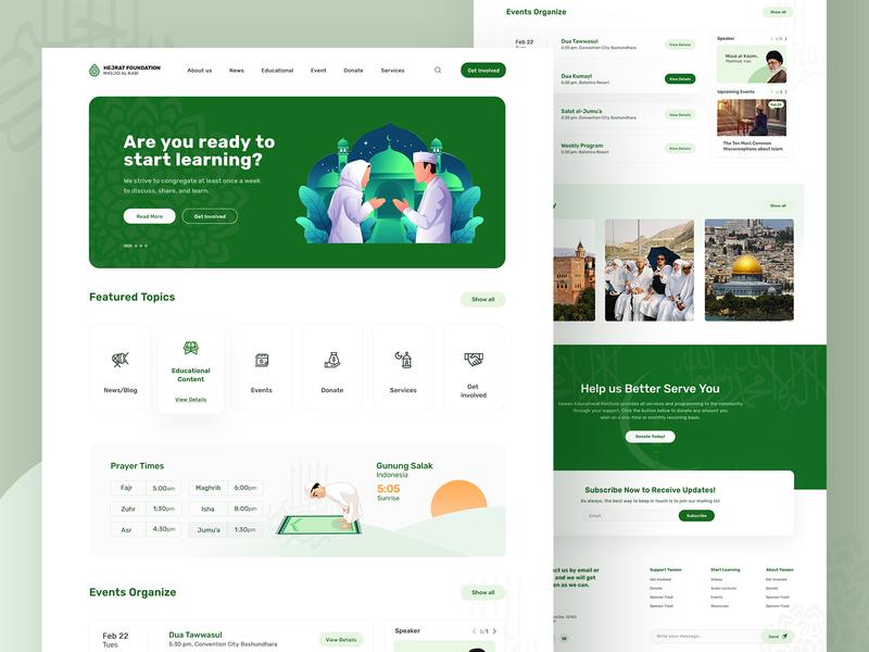 Hejrat Foundation (Masjid Al-Nabi) Home page zihad illustration design deep green homepagedesign website ux ui islamic design islam muslim