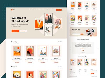 Art World home page homepage website clean web ux design ui zihad