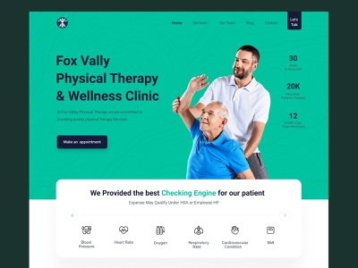 Fox Vally  Physical Therapy  & Wellness Clinic wellness clinic physical therapy homepage website clean web ux design ui zihad