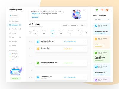 Task Management Dashboard invoices mail illustration clean web ux design management app task ui zihad