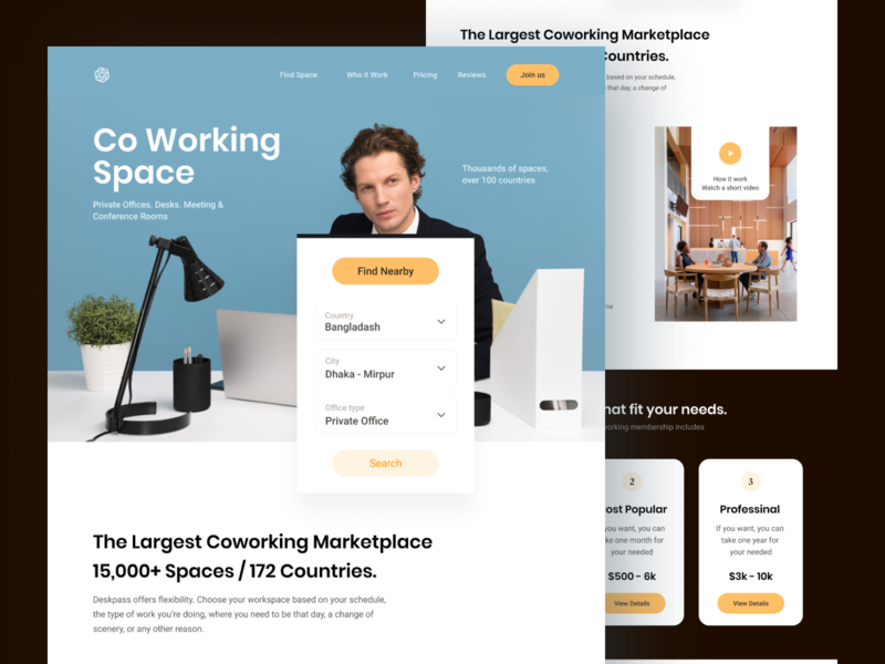 Co-working Landing Page find rent co working space landing website web clean ux design ui zihad