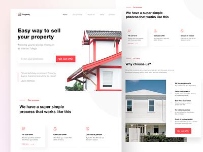 Property sell landing page cash offer red seller property landing web clean ux design ui zihad