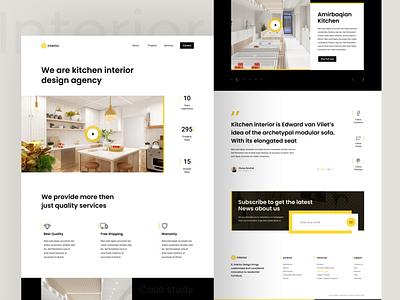 Interior landing drack black decoration kitchen interior landing website web clean ux design ui zihad