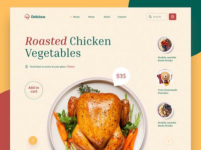 Delicious Restaurant drinks checken food restaurant homepage landing website web clean ux design ui zihad