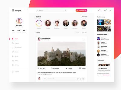 Instagram Redesign Concept (Web app) trending profile feed post instagram app web clean ux design ui zihad