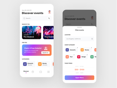 Event Booking App UI - Light version category concept design movies concert booking events app clean ux design ui zihad