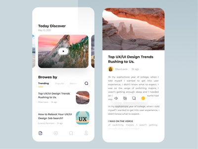 News feed UI design concept ux trends newspaper blog feeds news ios app clean ux design ui zihad