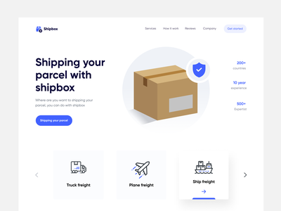Shipbox _ Landing page country parcel truck ship plane shipment homepage landing web clean ux design ui zihad
