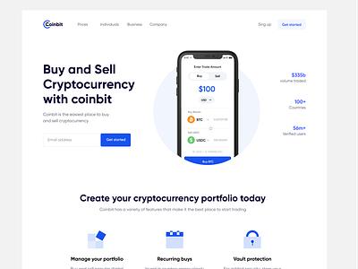 Coinbit _ Landing sell buy web clean ux design ui zihad