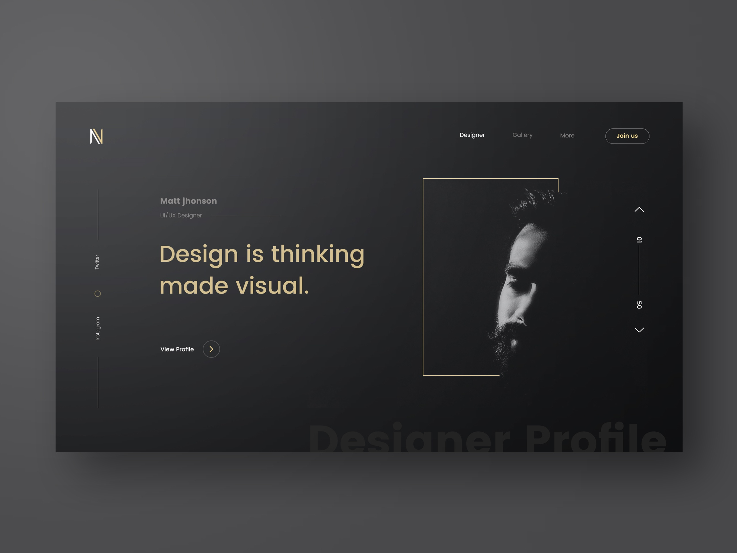 Designer profile full view