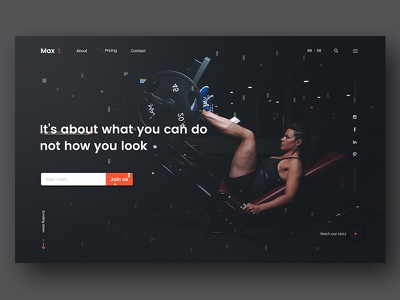 Max ux design ui zihad sports pattern page one landing gym fitness seagulls crossfit athlete direction art