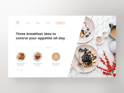 Restaurant home landing page minimal website clean web ux design ui food restaurant zihad