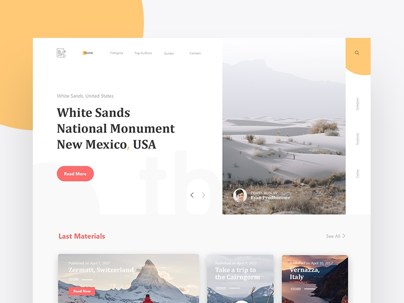 Travel Blog _ Experiment 07 website webdesign web unsplash travel landingpage design concept bootstrap blog