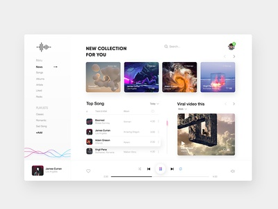Music Player _ Exploration homepage illustration minimal typography website app clean web zihad design ux ui player music fluent desktop