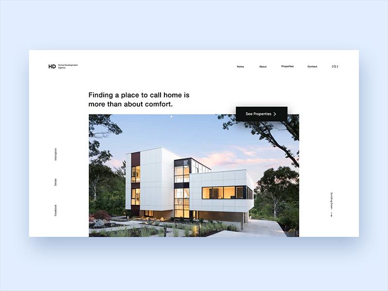 Home Development Agency. minimal landing website zihad web ux ui renting interface interaction design clean