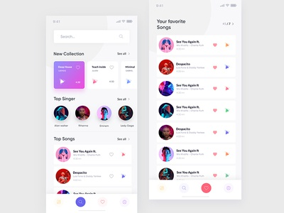 Music player song landing clean ux design ui zihad favorite search player music mobile ios app
