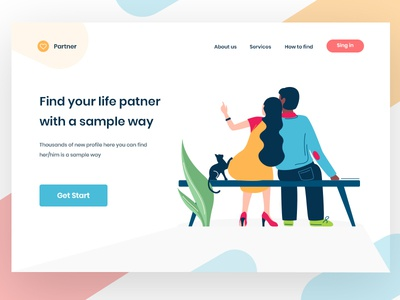 find partner homepage landingpage zihad clean ux web design ui street socializing people outdoors lines illustration friends dmit colourful bike