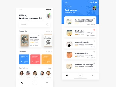 Poetry App Concept ux zihad design ui room profile app poetry poetree poem log iphone ios dashboard cards