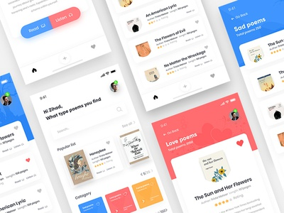 Poetry App Concept illustration ux design ui zihad room profile poetry poetree poem log iphone ios dashboard cards app