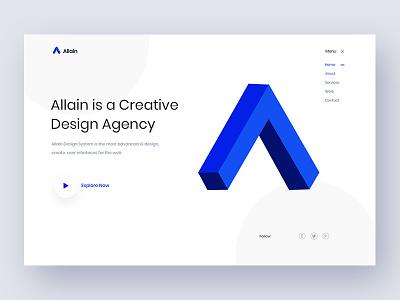 Allain zihad landing ui illustration shape agency desing blue white creative homepage banner