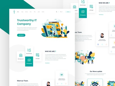 Trustworthy IT Company - Homepage website zihad illustration typography clean ux web design ui