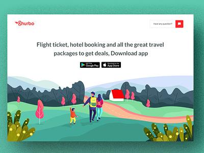 Ghurbo app Landing Page read greens zihad booking travel green ui  ux design ui creative clean illustration landing ghurbo