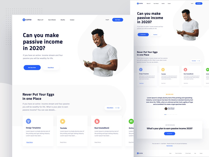 Passive income   Landing page Explore zihad minimalist earn money income passive income blue website design white ux ui landing page