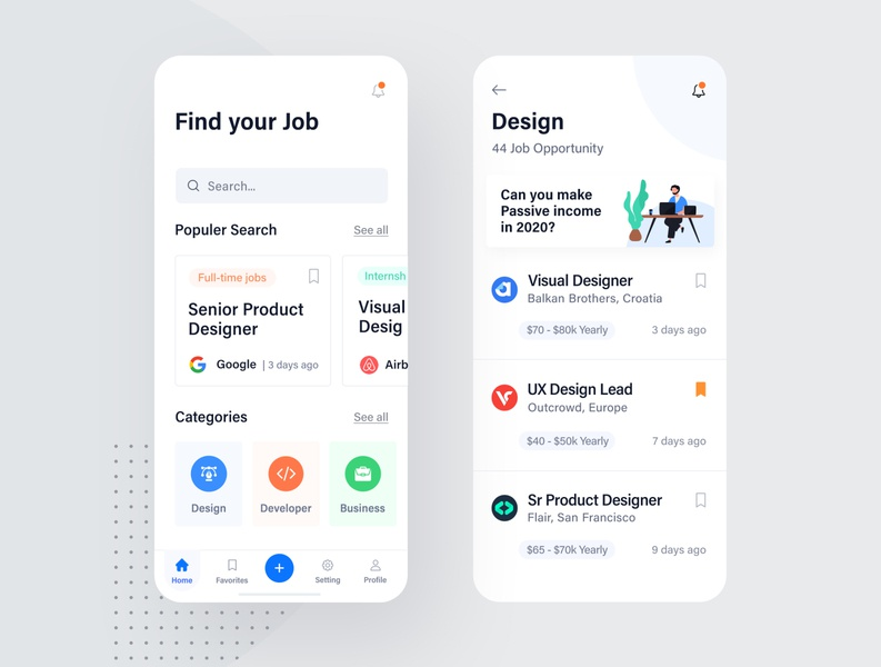 Job search Application job search illustration ios typography ux clean web ui