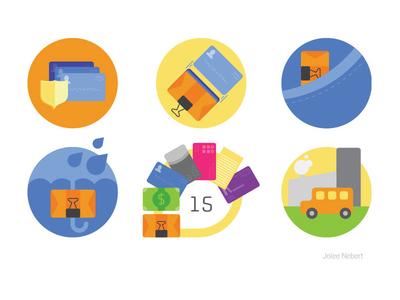 Wallet icons for Kickstarter capacity water resistant weather safety use credit card transport pocket kickstarter icon
