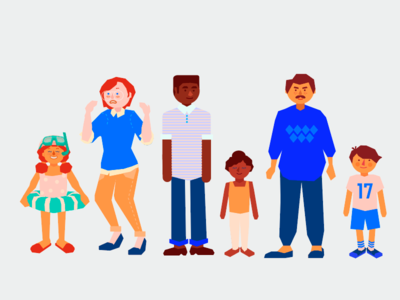"""Breathe Easy"" lineup kids family design characters illustration art"
