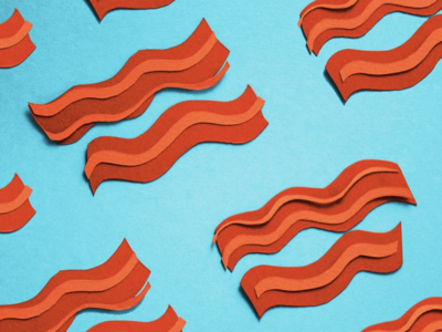 breakfast (pt 1) analog illustration red blue food breakfast paper papercraft bacon