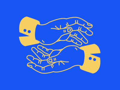 Paired collaboration yellow blue vector illustration hands