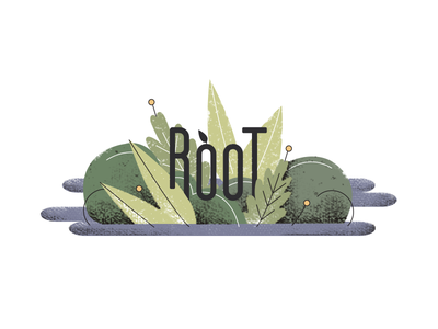 ROOT flower root water plants illustration icon logo