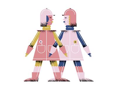 Paper dolls pink doll girls illustration