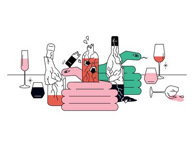 Natural Wines illustration wine snake holiday