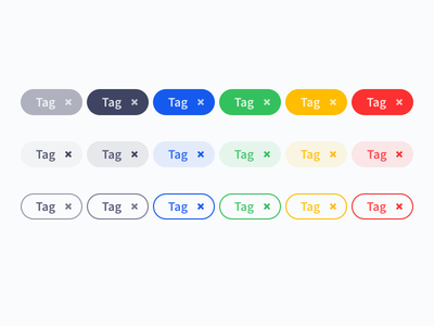 Colorful Tags With Icon - WIP colorful tag tags design-system web-design web