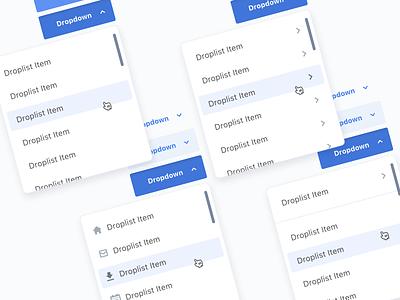 Dropdown - New Version web blue button list design system dropdown