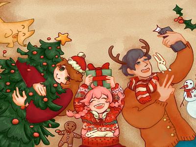 Merry Christmas! ecard christmas illustration digital painting illustration happy people celebration celebrate holiday happy holiday christmas merry xmas merry christmas