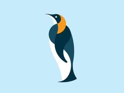 Penguin cool forms shapes geometry geometric swim water ice emperor penguin vector nature logo bird fly illustrator simple illustration design 2d