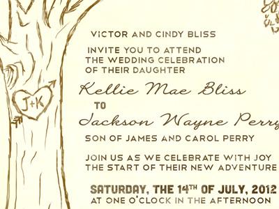 Sister-in-law's wedding invitations wedding invitation cubano telegrafico heart tree initials in tree